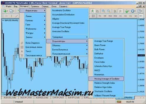 OSMA индикатор в МетаТрейдер 4