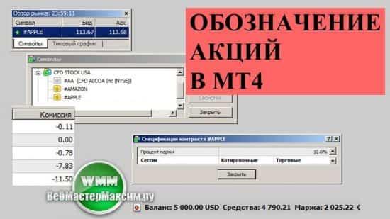 Обозначение акций в мт4. Как добавить российский и американский сегмент