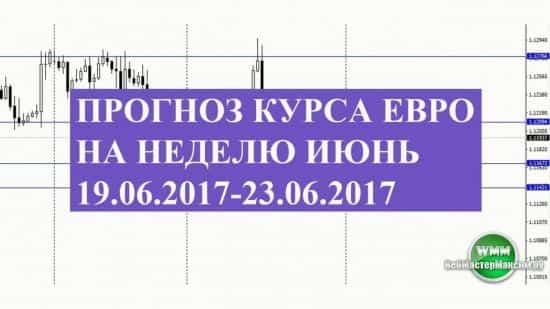 Прогноз курса Евро на неделю июнь 19.06.2017-23.06.2017. Торгуем во флете?