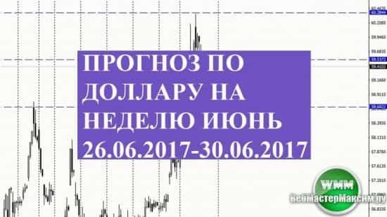 Прогноз по доллару на неделю июнь 26.06.2017-30.06.2017. Не забываем о фундаментальных факторах