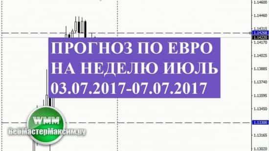 Прогноз по евро на неделю июль 03.07.2017-07.07.2017