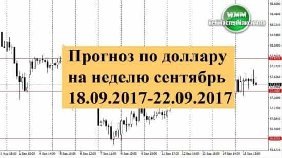 Прогноз по доллару на неделю сентябрь 18.09.2017-22.09.2017. Торгуем во флете!