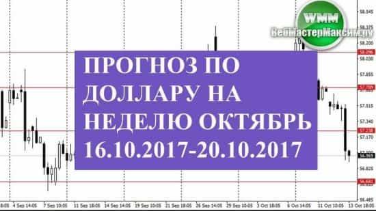Прогноз по доллару на неделю октябрь 16.10.2017-20.10.2017. На снижении сильный уровень
