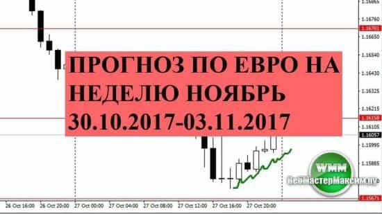 Прогноз по евро на неделю ноябрь 30.10.2017-03.11.2017. В ожидании