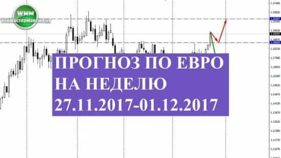 Прогноз по евро на неделю 27.11.2017-01.12.2017. Интересно, как себя чувствуют быки?