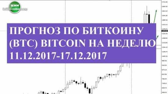 Прогноз по Биткоину (btc) Bitcoin на неделю 11.12.2017-17.12.2017. У этого актива и откаты к ракетному взлету