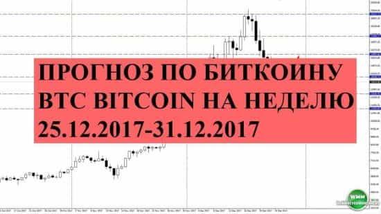 Прогноз по биткоину BTC bitcoin на неделю 25.12.2017-31.12.2017. Ракета буксует