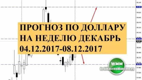 Прогноз по доллару на неделю декабрь 04.12.2017-08.12.2017. Следите за фундаментом