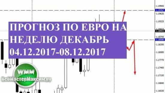 Прогноз по евро на неделю декабрь 04.12.2017-08.12.2017. Торгуем на спокойном фундаменте